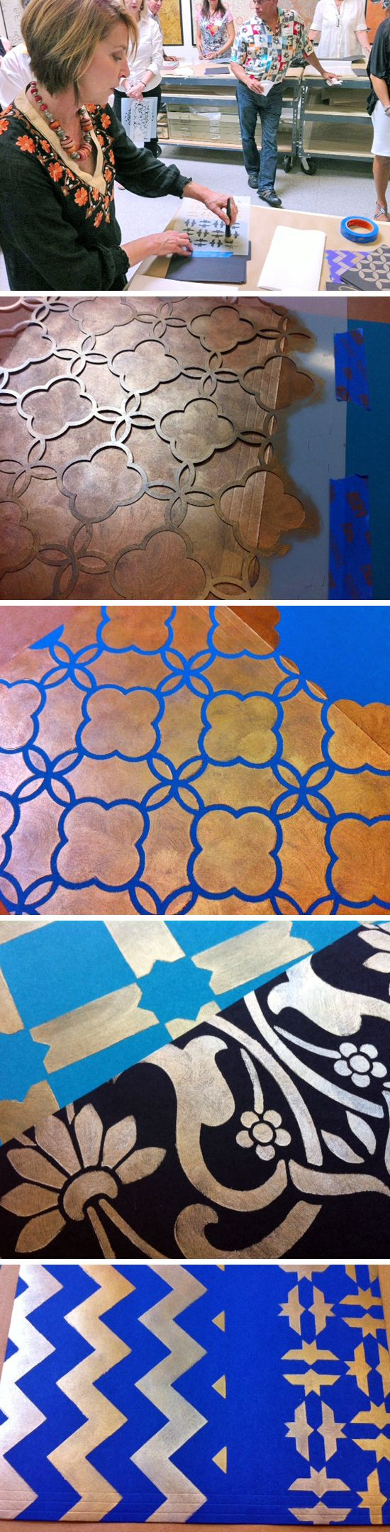 Our Moroccan stencils and stencil project from the Marrakesh by Design event-as blogged by Love, Paper, Paint.