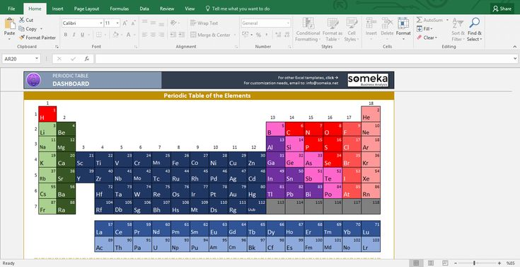 Periodic Table - Excel Template: Hey, any science fans out there? If you are the one, you know how important (and cool) is Periodic Table of Elements. We have now combined the coolness of periodic table and Excel; result is yummy!  #excel #template #elements #spreadsheet #personal #periodic #table #info #science #printable
