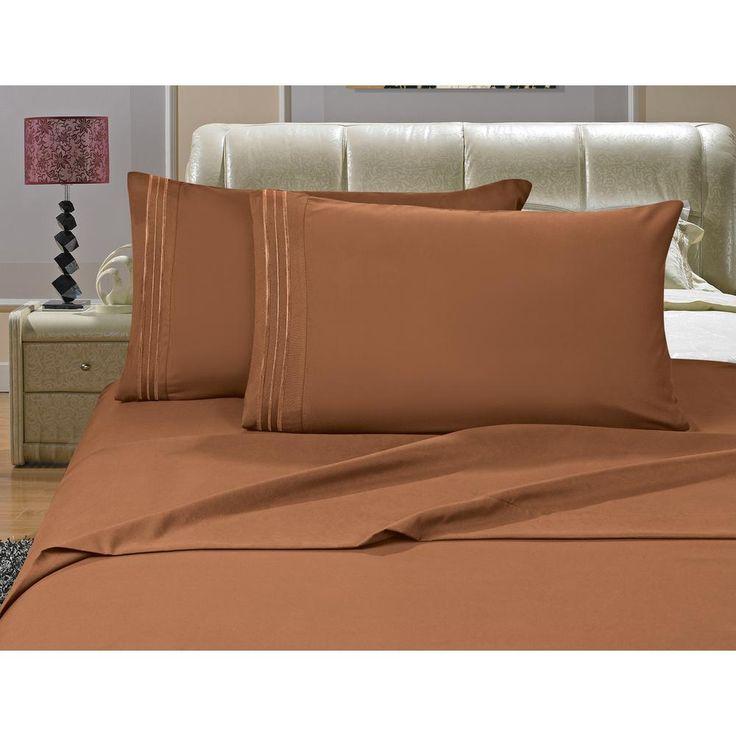 1500 Series 4-Piece Bronze Triple Marrow Embroidered Pillowcases Microfiber California King Size Light Bed Sheet Set