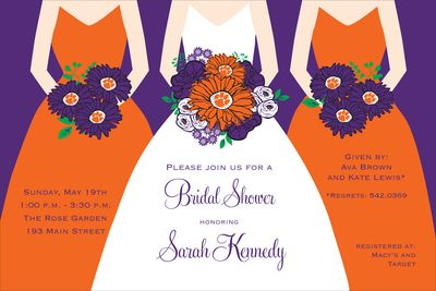 Clemson Shower Invitations: Shower Ideas, Showers, Wedding Shower, Wedding Ideas, Catalog, Dream Wedding, Bridal Shower Invitations, Products, Future Wedding