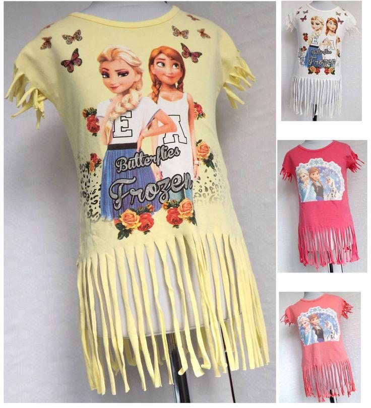 Elsa Shirt die Eiskönigin Mädchen  Fransen Shirt Top Trägertop Gr. 92-110