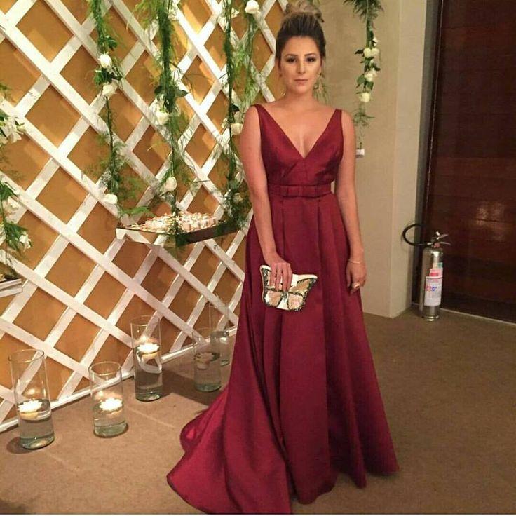 vestido de madrinha vinho ou marsala