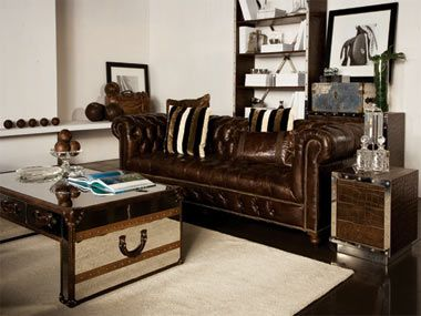 Bensington 3 Seater Sofa in Vintage Cigar, Slab Coffee Table in Shiny Steel and Sporting Goods