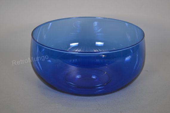 Nuutajärvi Finland bowl glass   blue  Mid century by RetroMungo
