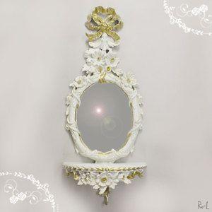 REG1-CP92イタリア製ホワイト・ゴールドコンソール付ウォールミラー壁掛け鏡