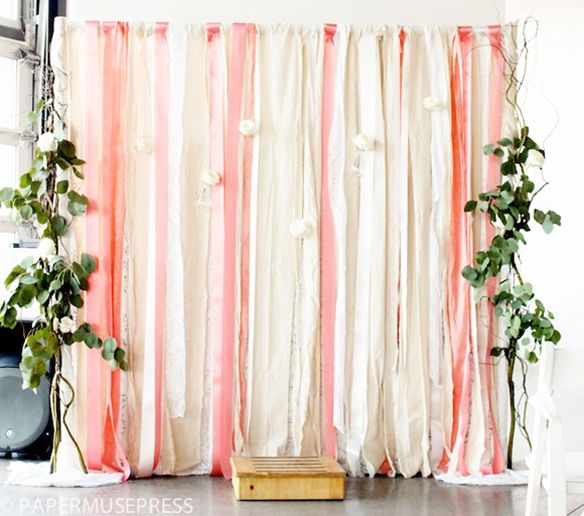 """DIY Fabric and Ribbon Backdrop. This is a really cheap and easy decoration! If you want to buy a few 3yard cuts of fabric from Joann's (with the 40-50% coupons!) and a 2""""x2""""x7 foot thing of wood, you can use the stands my dad made for our wedding!"""