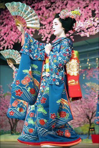 K O T O H A : Miyako Odori.     Kotoha, maiko, performs during the grand finale of Miyako Odori, the annual spring dance of Gion (Kyoto's most famous geisha district).