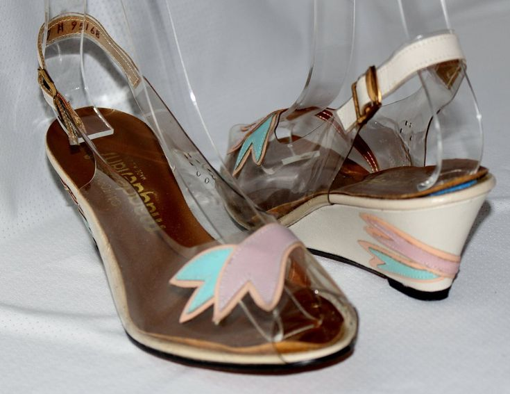 California Magdesians Open Toe Wedge Slingback Heels Shoes Vintage Mad – La Guanaquita's Closet