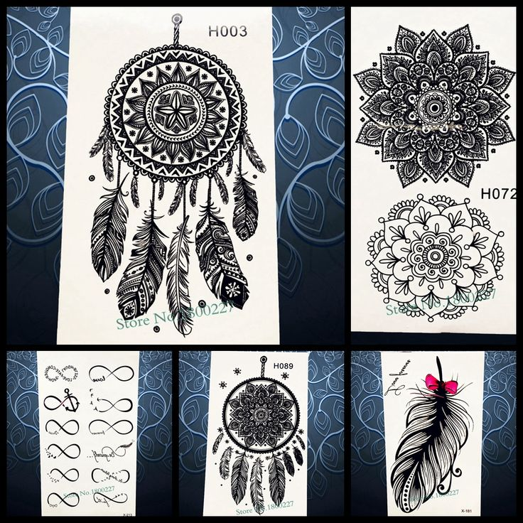Hot Sale Temporary Tattoo Sticker Black Dreamcatcher Tatoo Waterproof Women Henna Body Arm Art Dream Catcher Tattoo Stickers PH3