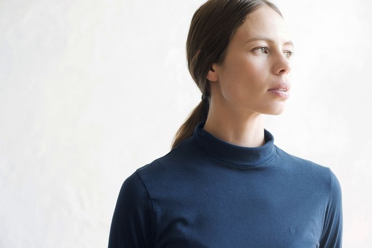 Sylvia Turtle Neck in Navy. Made in Melbourne.
