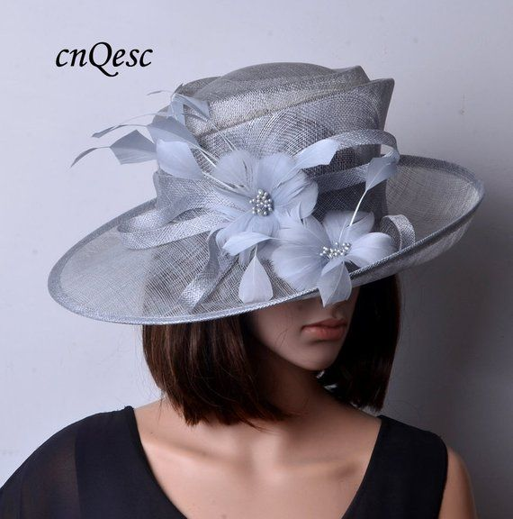 fc090dea8 Silver grey sinamay hat fascinator with feather flower,for Kentucky ...