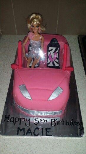 barbie car cake