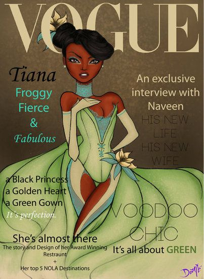 Vogue Tiana: These fashionable Disney princesses heat up Vogue magazine covers!  Illustration by Dante Tyler