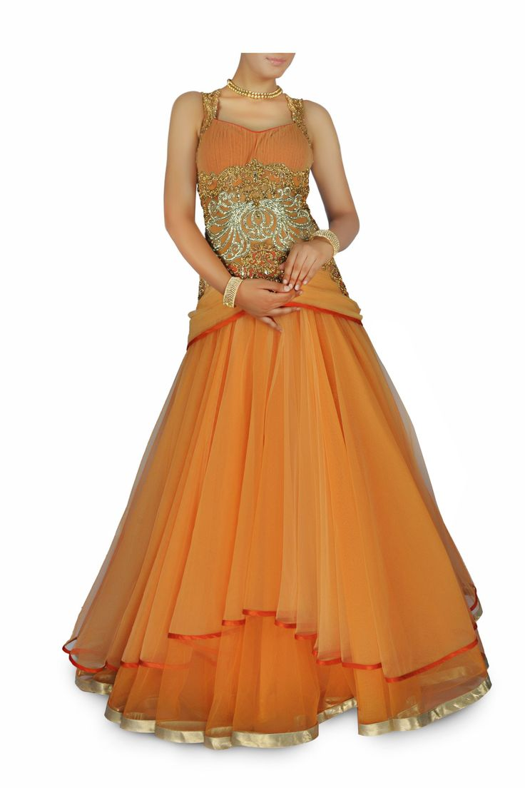 Cantaloupe Orange Embellished Gown