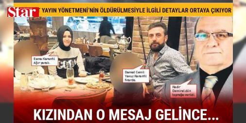 Damadının öldürdüğü Yeni Akit Yayın Yönetmeni Kadir Demirel kızını kurtarmaya gitmiş: Damadı tarafından öldürülen gazeteci Kadir Demirel'in, kızının eşinden şiddet gördüğünü haber vermesiyle olay yerine gittiği ortaya çıktı. Yeni Akit Yayın Yönetmeni Demirel dün toprağa verilirken eşi Cemil Yavuz Karanfil tarafından ağır yaralanan kızı Esma Karanfil'in hayati tehlikesi sürüyor. Damat Cemil Yavuz Karanfil ise her yerde aranıyor.   'ACİL DURUM VAR ÇIKIYORUM' Olay, Başakşehir'de Yunus Emre…