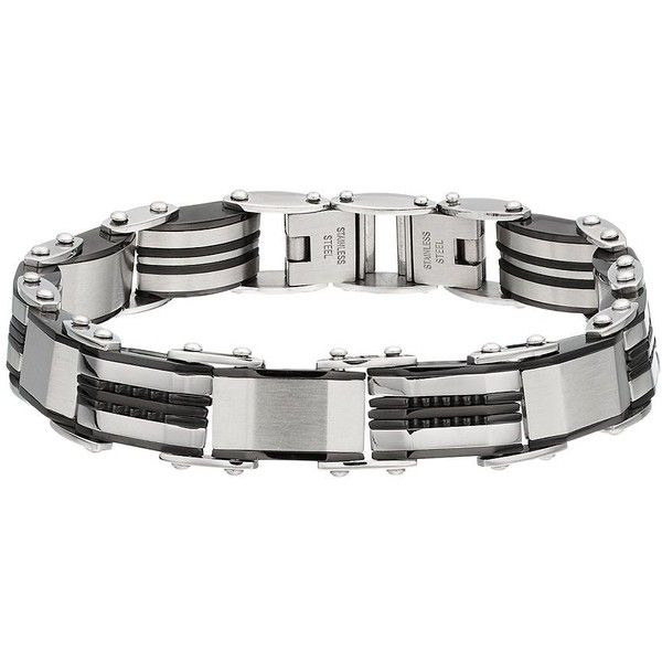 Two Tone Stainless Steel Reversible Men's Bracelet ($35) ❤ liked on Polyvore featuring men's fashion, men's jewelry, men's bracelets, silver, mens stainless steel bracelets, mens two tone bracelets, mens watches jewelry and mens bracelets