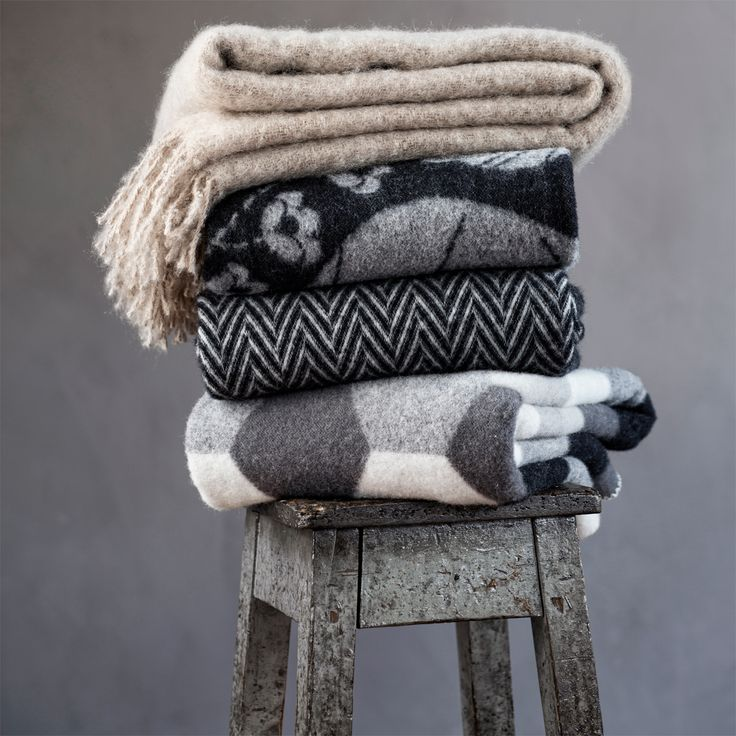 Cozy up under a luxurious blend of mohair and wool. One of the oldest textile fibers in use, mohair is made from the hair of Angora goats and used for its luster and sheen as well as durability. Its in