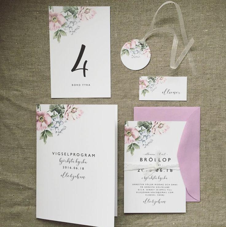 Blomster pastell - trycksaker till bröllop, inbjudningskort, vigselprogram, bordsnummer, placeringskort, pastell, sommarbröllop, blomster - www.annagorandesign.se