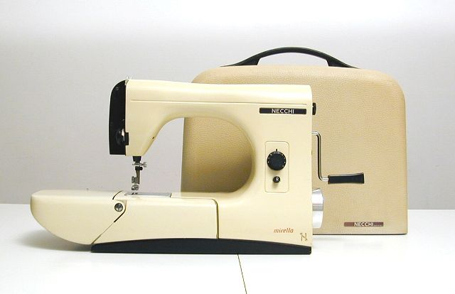 NECCHI Mirella: This incredibly beautiful sewing machine was created in 1957 by Marcello Nizzoli for the NECCHI brand.