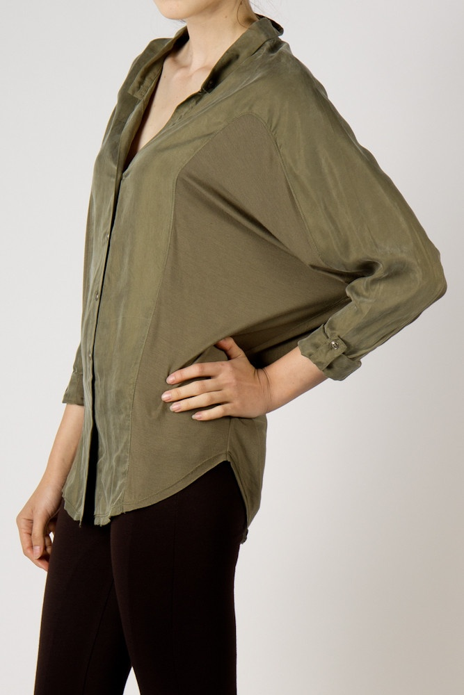 olive green dolman sleeve button up