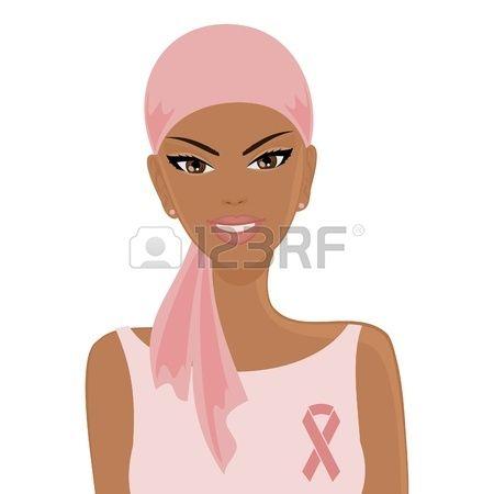 Illustrazione di una sorridente donna afro-americana che indossa velo e un nastro rosa cancro al seno concetto di consapevolezza Archivio Fotografico