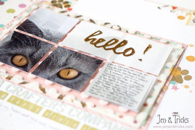Hello! 12x12 scrapbook layout by jenandtricks, using Basic Grey scrapbook paper. Http://forglueandglory.com