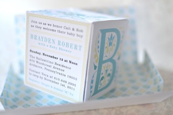 baby shower invitation 3d popup building block by plumetothewind, Baby shower invitations