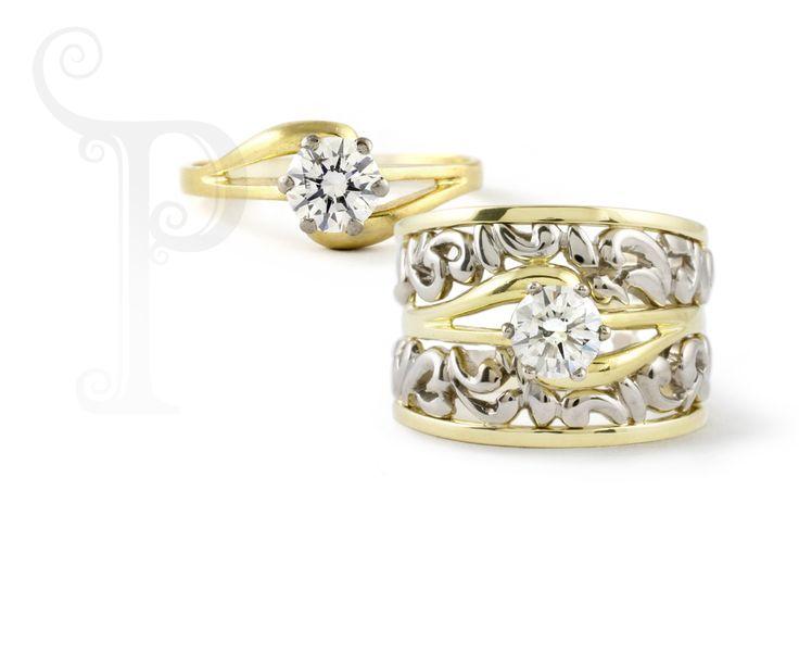 Handmade !8ct Yellow Gold Solitaire Diam0ond Ring, With 18ct White & Yellow Filigree Wedding Bands