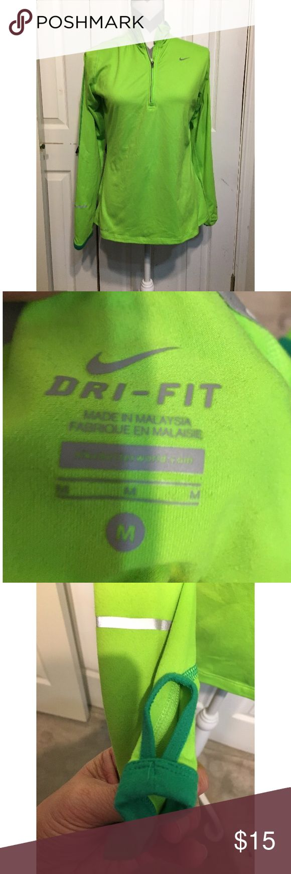 Nike Pro Dri-Fit Women's Running Jacket Nike Pro Dri-Fit Women's Running Top - thumb holes wth some stretch - fluorescent green - some minor pilling - Good Condition - medium Nike Jackets & Coats