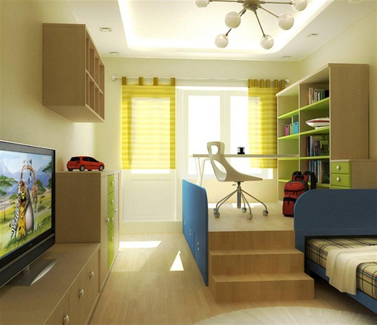 6 Excellent Teens Bedroom Decor Ideas By Eugene Zhdanov: neat beige and green teen bedrooms theme with second level office furniture and wooden floor also flower pattern curtains bed and cabinets