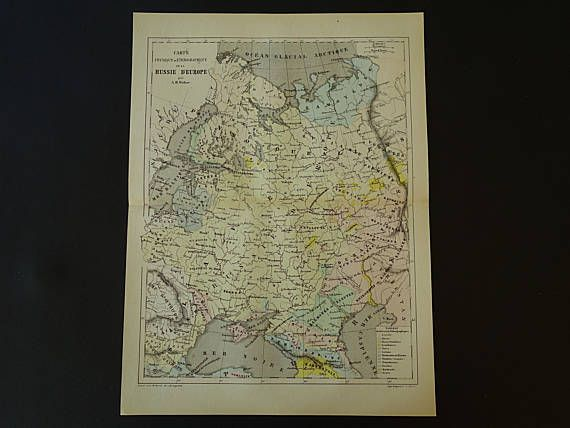 RUSSIA Vintage maps 1858 original antique hand-colored map set