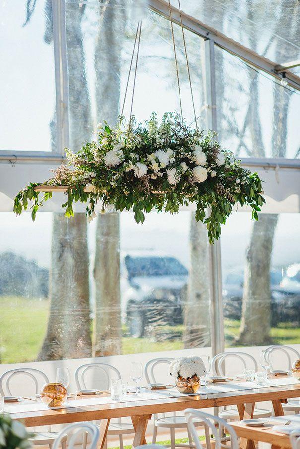 MEGHAN + ROB // #wedding #flowers #hanging #swing #foliage #white #green #stylish #inspiration #reception #ceremony #idea #arrangement #floral