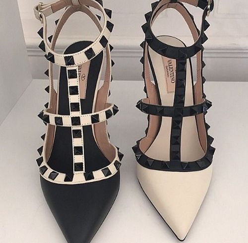 "Black and white Valentino ""Rockstud"" heeled sandals - Anastassia Krez       <span class=""buttonText"">                          Plus         </span>          </button>"