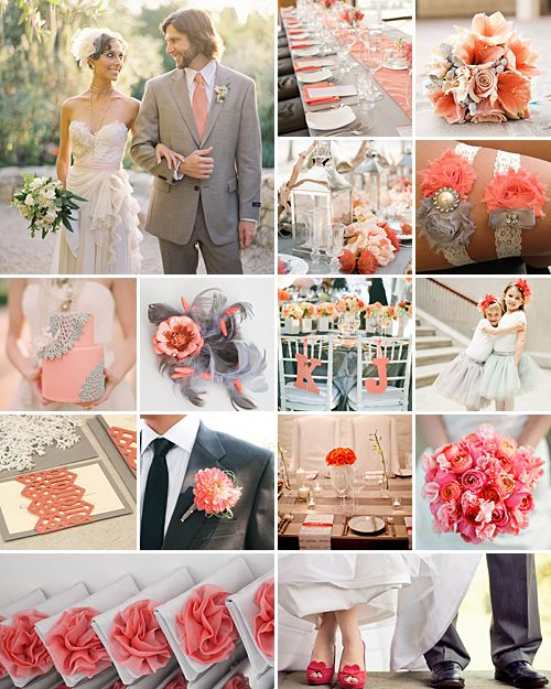 Coral and Grey Weddings: it makes for one mesmerising colour scheme that can be applied to either a soft contemporary or vintage occasion.