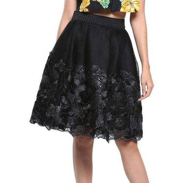 Black Embroidery Floral Zip Up Skirt ($33) ❤ liked on Polyvore featuring skirts, floral skirt, embroidered skirt, floral knee length skirt, zip up skirt and floral print skirt