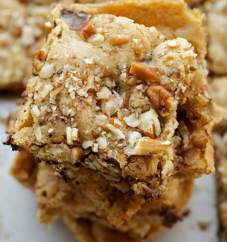 Toffee Nut Squares are sweet, nutty, delicious bars packed with plenty of brown sugar, nuts, and chocolate. - Bake or Break