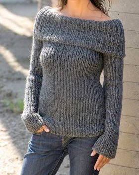 Knit Sweater Women's Clothing Off The Shoulder Grey Sweater Made to Order FREE SHIPMENT by GrahamsBazaar