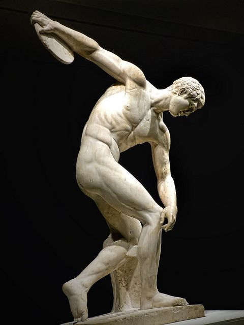 Diskobolos (discus thrower) 2nd century CE Roman copy of 450-440 BCE Greek bronze by Myron recovered from Emperor Hadrian's Villa in Tivoli ...