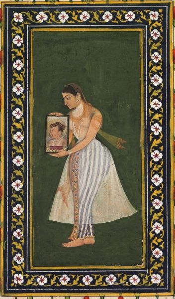 Nur Jahan, Holding a Portrait of the Emperor Jahangir, c. 1627  attributed to Bishandas (Indian)  opaque watercolor and gold on paper, Miniature - h:14.00 w:6.40 cm (h:5 1/2 w:2 1/2 inches).