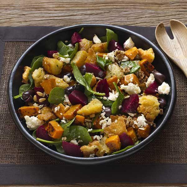 MADE: With Carrot & Courgette instead of Bread. Beetroot, Pumpkin and Feta Salad