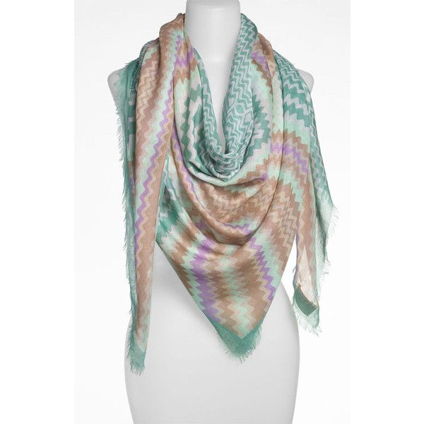 Missoni Zigzag Linen Blend Scarf ($440) ❤ liked on Polyvore featuring accessories, scarves, sea green, square scarves, missoni scarves, zig zag scarves, oversized scarves and missoni