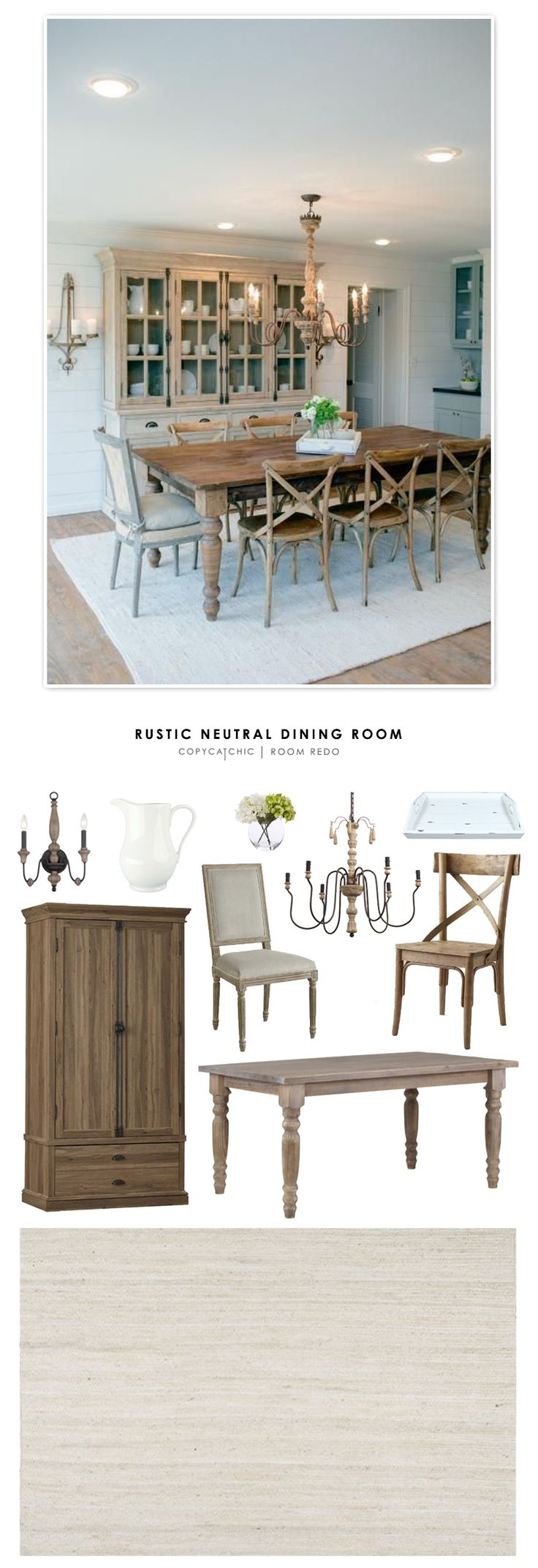 Copy Cat Chic Room Redo | Rustic Neutral Dining Room
