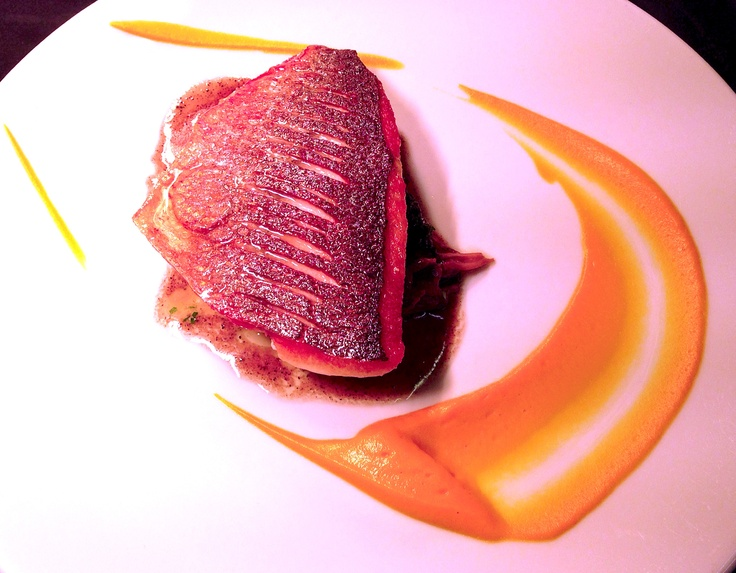 Fillet of Gilt Head Bream with Crown Prince Squash, Melted Chanterelles, Curly Kale and Winter Truffle Pesto