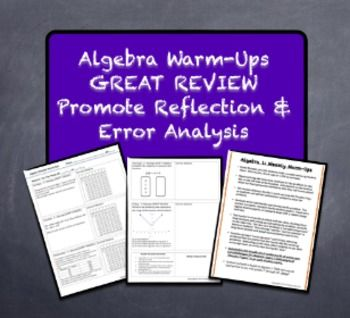 Help Prepare for Algebra 1 E.O.C. End-of-Course Exams! Warm-Ups Galore! REVIEW and Encourage Error Analysis  Reflection