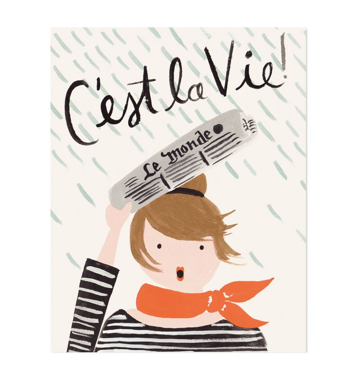 c'est la vie illustrated 8x10 art print via rifle paper co.
