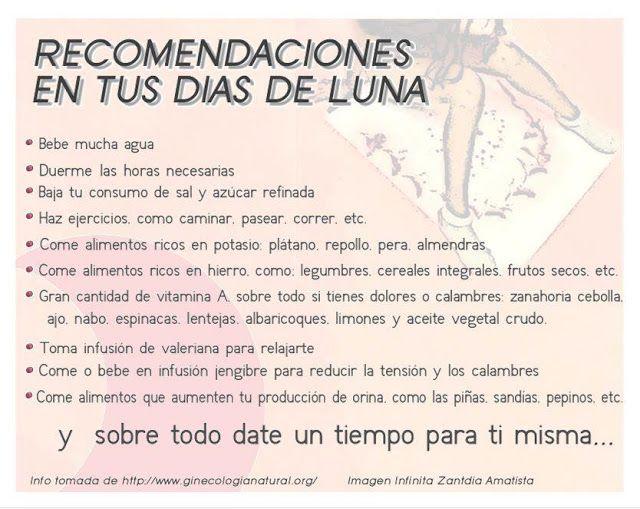 Ati Killa, Tiempo de Luna: copas menstruales , toallas femeninas de tela, ginecologia natural...: Recomendaciones en tus días de luna