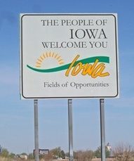 Iowa - HInderene Van Raden won the slogan contest: Fields of Opportunity