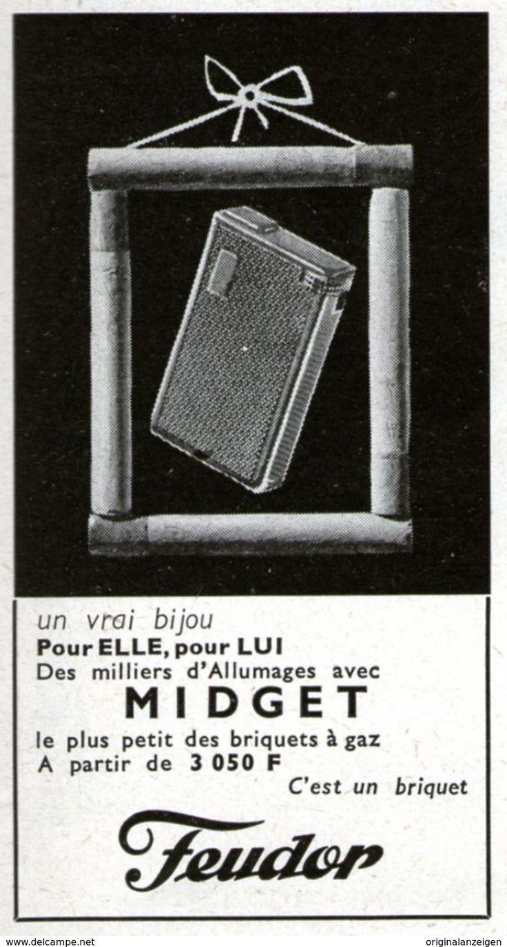 Original-Anzeige /Publicité 1957 - (en Français) FEUDOR MIDGET /  BRIQUET À GAZ - Ca. 45 X 80 Mm - Werbung