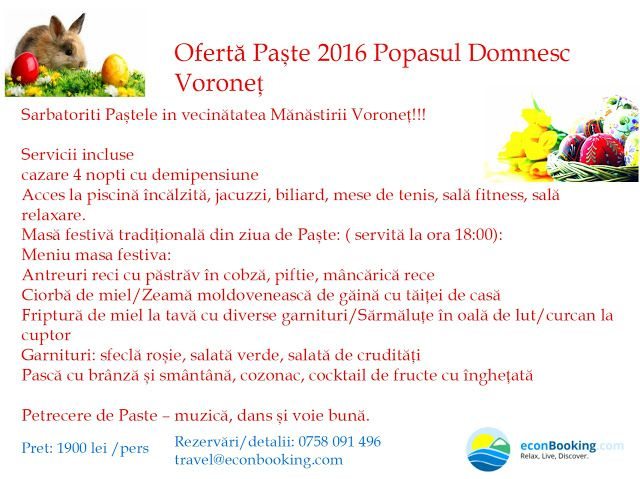 EconBooking.com: Oferta Paste 2016 Popasul Domnesc Voronet