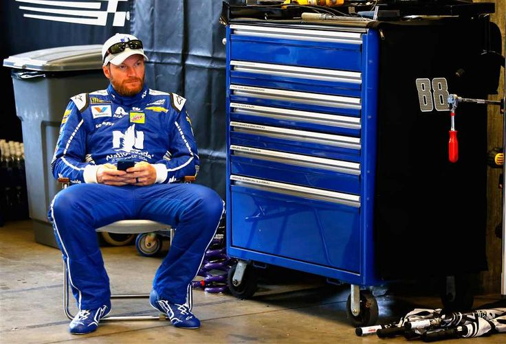 At-track photos: Indianapolis Motor Speedway Sunday, July 23, 2017 Dale Earnhardt Jr., driver of the No. 88 Nationwide Chevrolet, sits in the garage during practice for the Monster Energy NASCAR Cup Series Brickyard 400 at Indianapolis Motor Speedway on July 22, 2017 in Indianapolis, Indiana. Photo Credit: Sean Gardner/Getty Images Photo: 60 / 77
